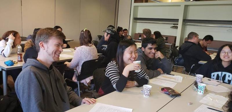 CIEP students and domestic students laughing in a classroom