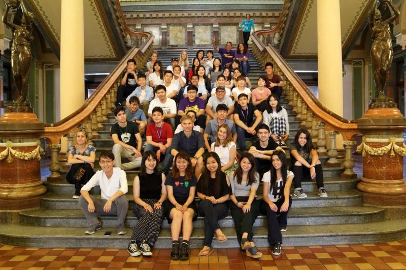 CIEP students pose on stairs at Iowa Capitol building