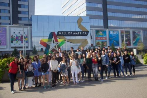 CIEP students in front of the Mall of America in Minneapolis