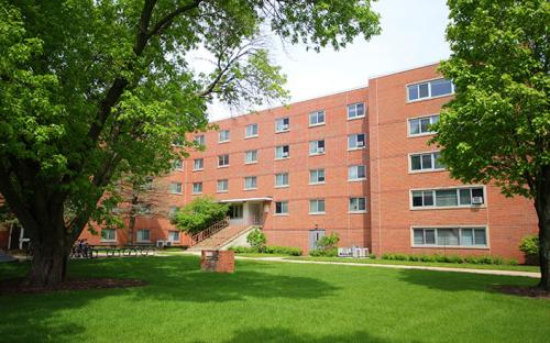 Exterior of Shull Hall, on-campus dorm building