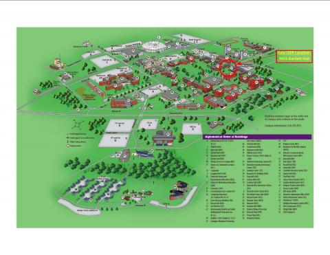 Campus map showing the new location: Bartlett Hall Room 3025
