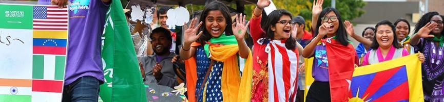International students at parade